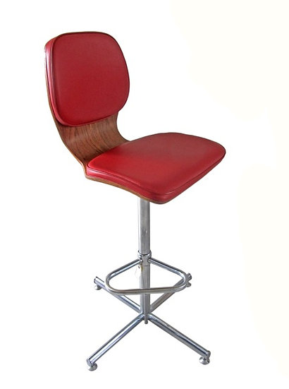 1950s Rosewood & Chrome Bar Stool
