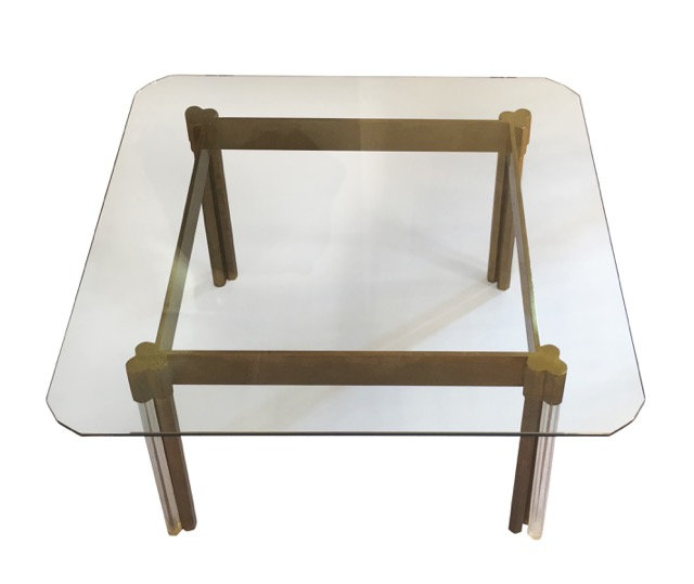 Brass and Lucite Coffee Table