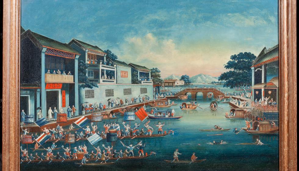 Dragon boat racing at Spring Festival