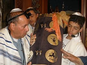 Jewish boy celebrating his bar mitzvah in Jerusalem