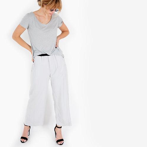 מכנס רחב משולב אפור