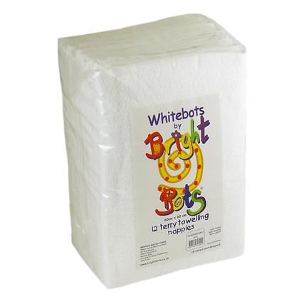 White Bots Cotton Terry Squares Reusable Nappy