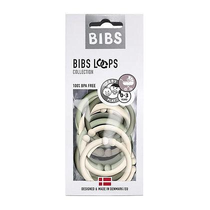 BIBS Denmark Loops Teething Toy Rings Green