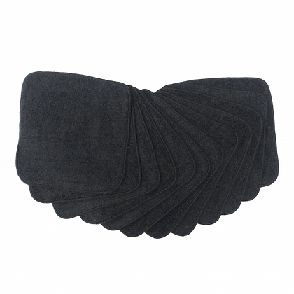 Muslinz 20cm Bamboo Cotton Reusable Wipes Black - 12 pack