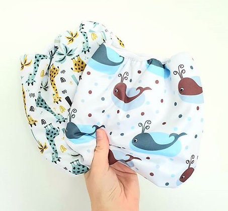 Nature Babies Essential One Size Reusable Nappy Wrap Giraffe Whale
