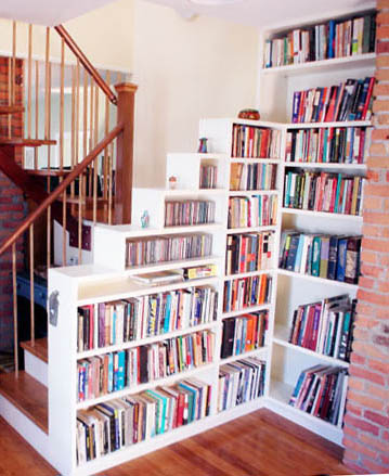 Bookcase stair railing