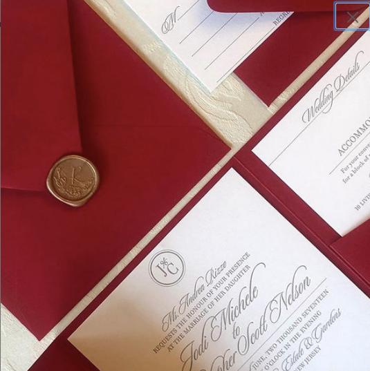 Ruby Red Letterpress Wedding Invitation