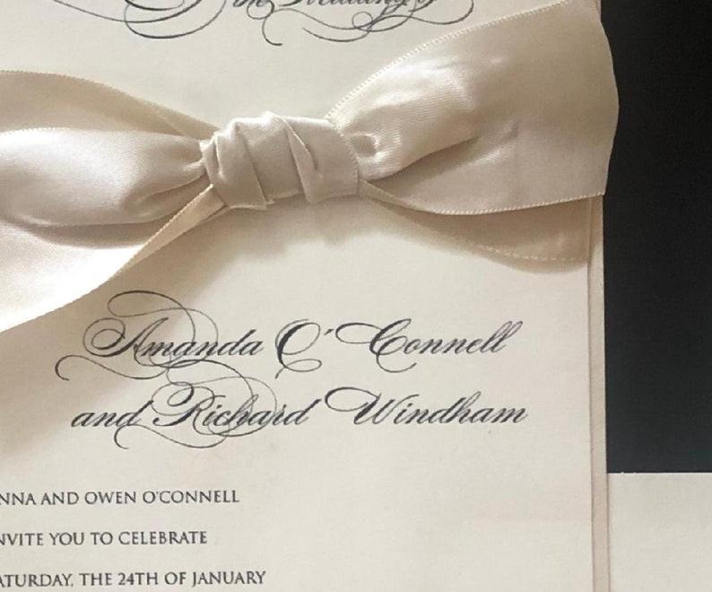 Champagne Bow Wedding invitation