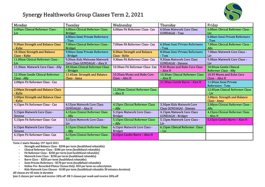 Term 2 Timetable 2021 with Instructor In
