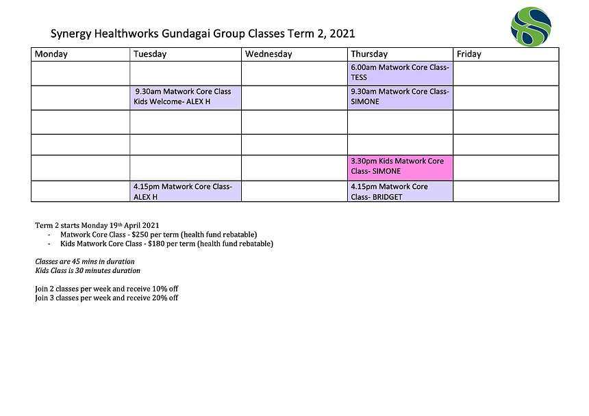 Term 2 2021 Gundagai Timetable WITH INST