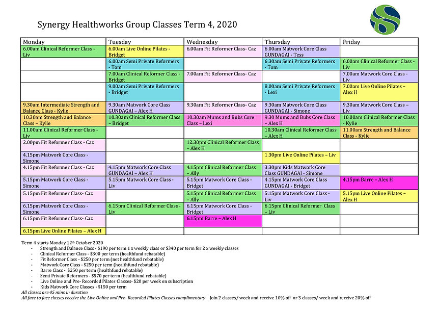 Term 4 Wagga Timetable 2020 with Instruc