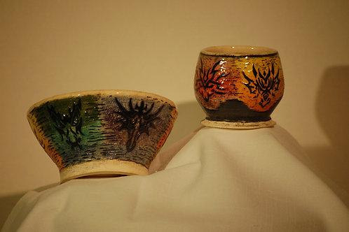 Dragon Bowl and Cup set