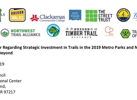 Open Letter Regarding Strategic Investment in Trails in the 2019 Metro Parks and Nature Bond and Bey