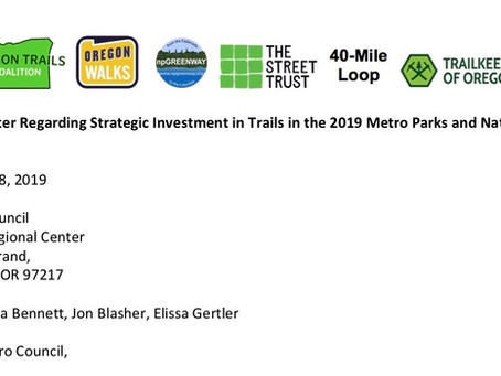 Open Letter to Metro Council Regarding Strategic Investment in Trails in the 2019 Metro Parks and Na