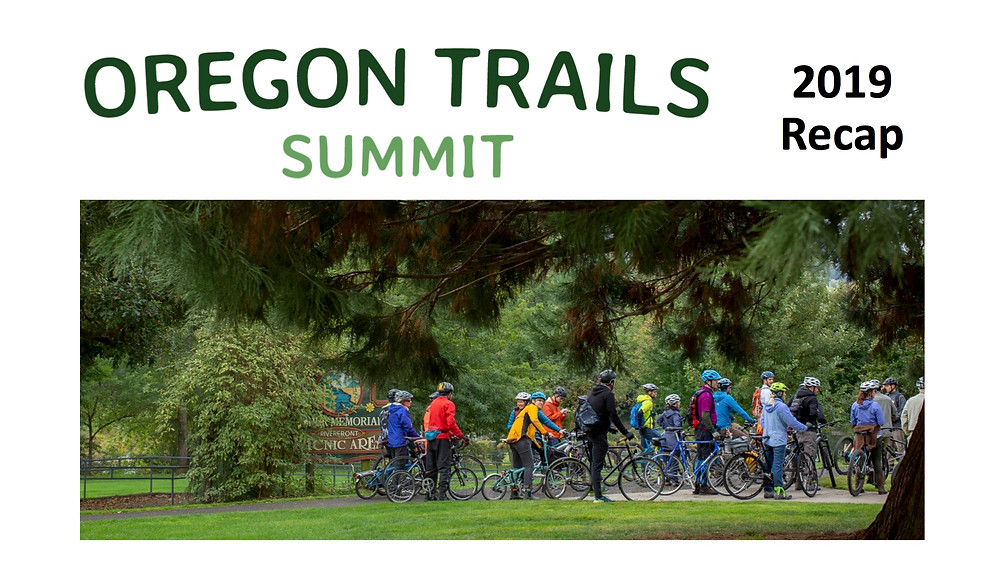 Oregon Trails Summit 2019 Recap Cover, photo large group of people with bikes and colorful jackets on trail