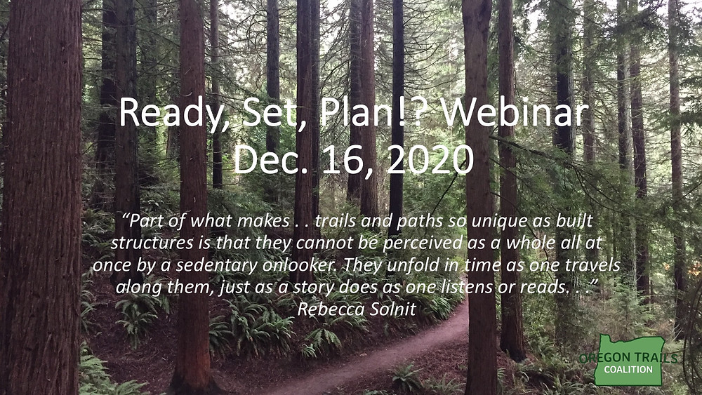 "Title Slide ""Ready, Set, Plan!? Webinar"" with trail through woods in background"