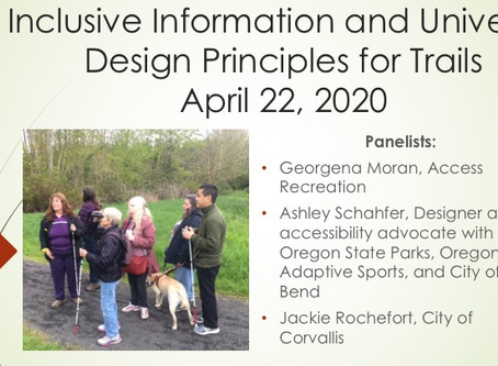 Inclusive Information and Universal Design Principles for Trails Webinar Recording Now Available!