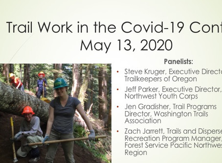Trail Work in the Covid-19 Context Webinar Recording Now Available