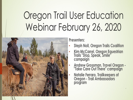 Trail User Education Resources and Webinar Recording Now Posted!
