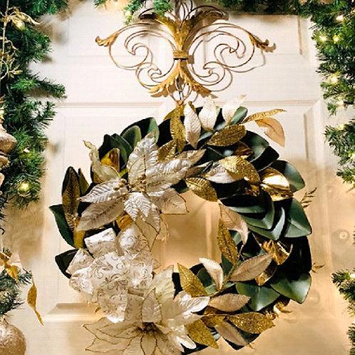 Glistening Poinsettia Wreath