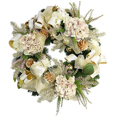 White And Pink Hydrangea Wreath