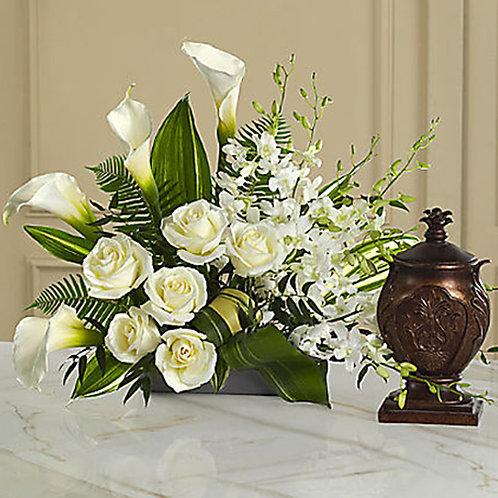 White Rose and Tulip Urn Arrangement
