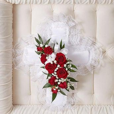 Satin Cross With Roses Casket Insert