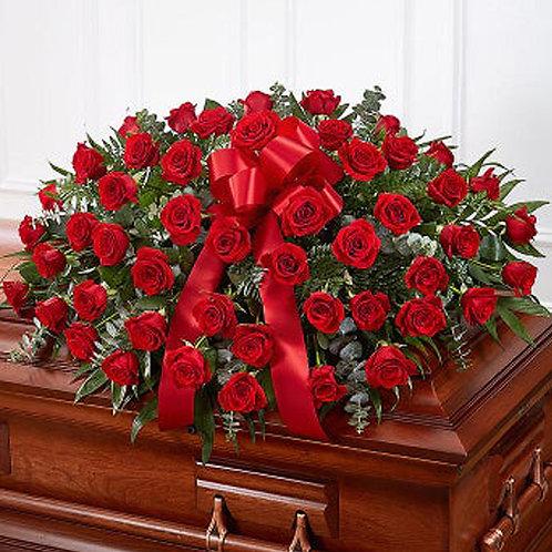 Purest Love Red Roses Half Casket Cover