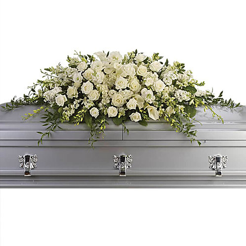All White Grandeur Casket Spray