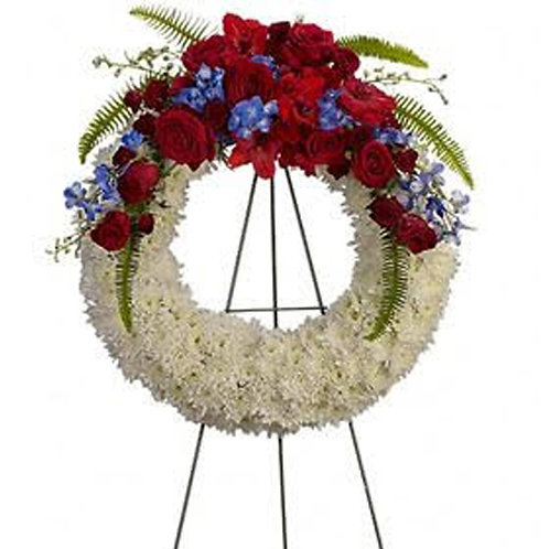 Red Top and White Standing Wreath