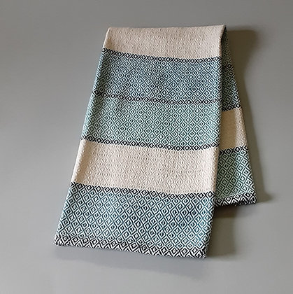 Handwoven Dish Towel: Teal stripes