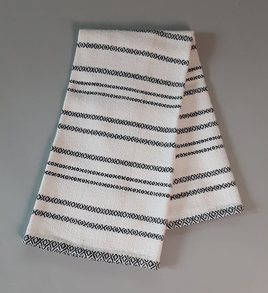 Handwoven Dish Towel: Black stripes on white