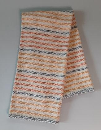 Handwoven Dish Towel: Orange stripes on natural