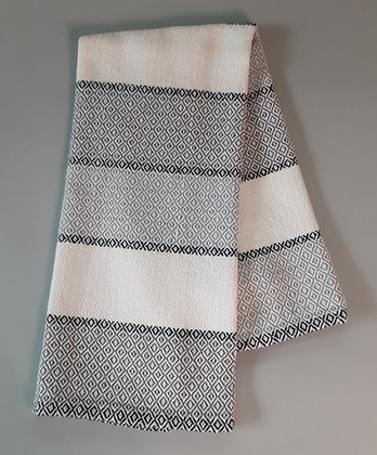 Handwoven Dish Towel: Black, white and gray stripes