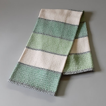 Handwoven Dish Towel: Green stripes