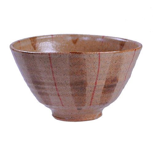 紫雲窯 赤十草飯碗(中)