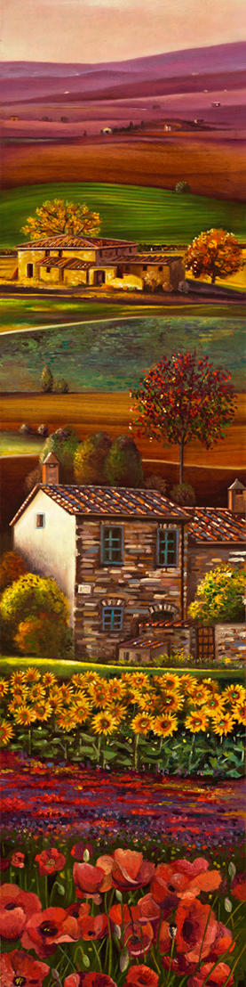 A day in Tuscany %2239 x 9%22 - oil on koa