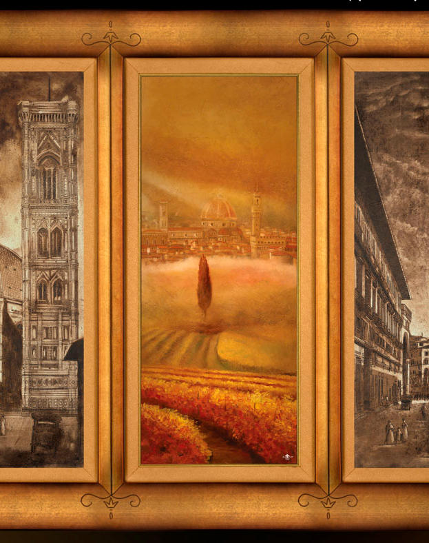 Tramonto fiorentin Triptick - oil on plaster