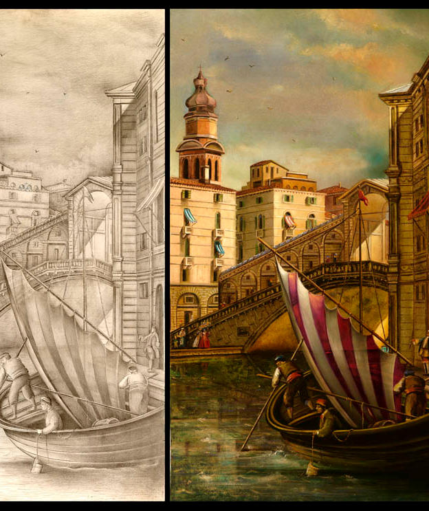 """Venezia Venere 3 pan. 15"""" x 28"""" - silver point, oil and  ink on plaster"""