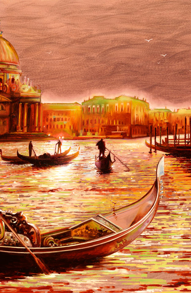 Tramonto in Canal Grande 20%22 x 29% - oil on copper