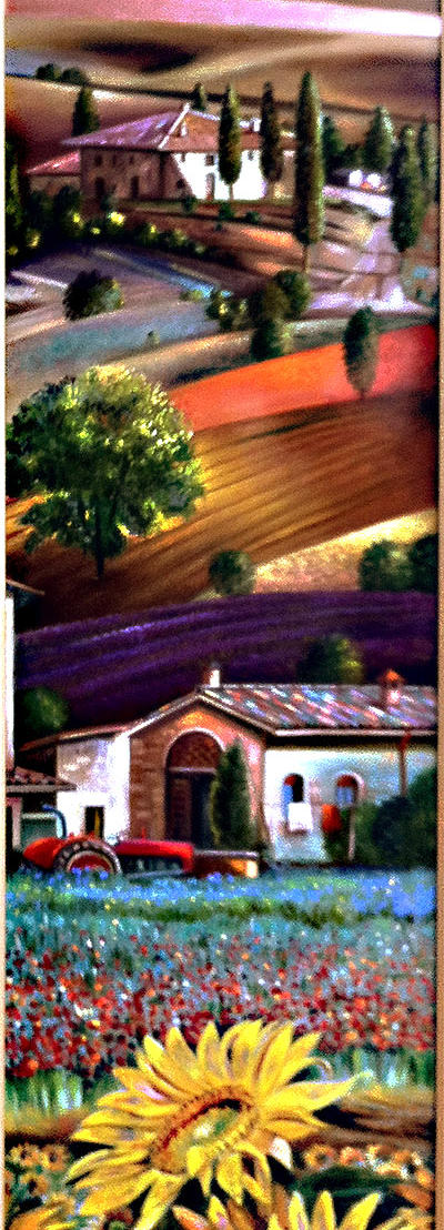 Sogno Toscano 39%22 x 9%22 - oil on copper