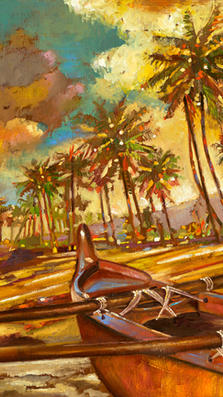 Maui North Shore 12%22 x 17%22 L.E. - oil on koa