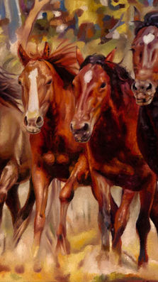 Wild Horses 20' x 24'  - oil on maso