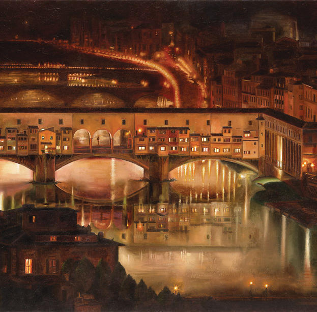 Arno at Night %2226 x 48%22 - oil on masonite