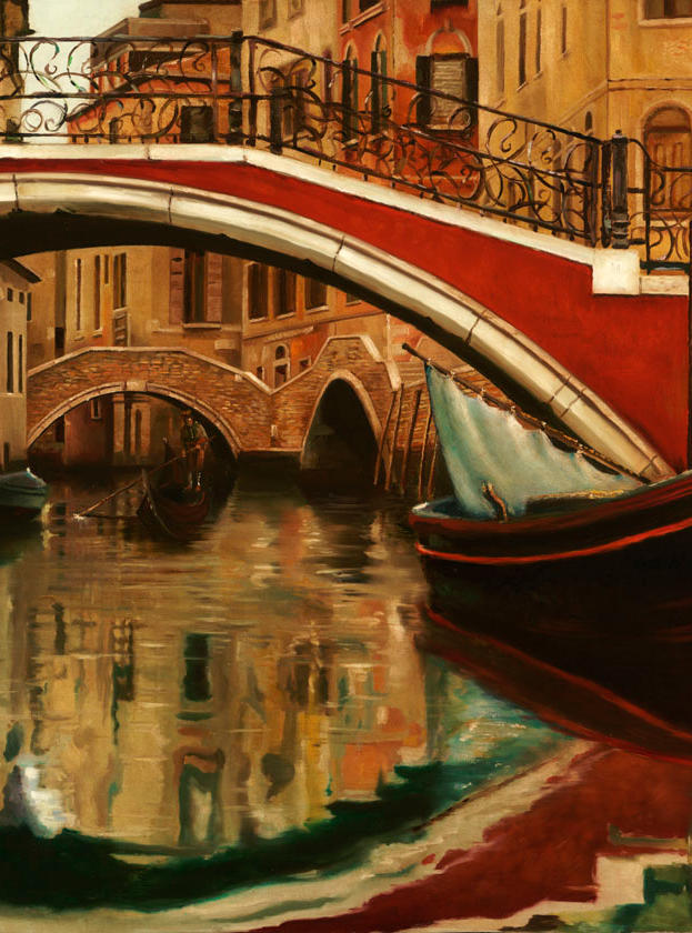 Venezia Mille Colori 20%22 x 20%22 - oil on plaster