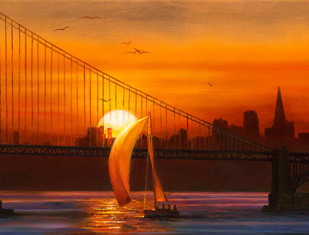 Sunset in San Francisco 8'x 16' - oil on copper