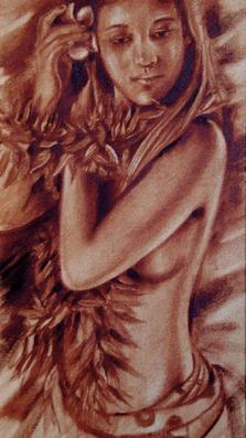 Waine with plumeria 23%22 x 9%22 oil on canvas