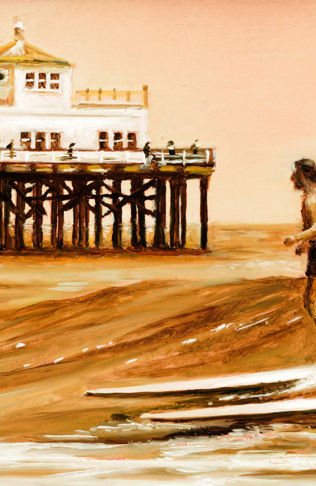 Surf in Malibu' - oil on popper