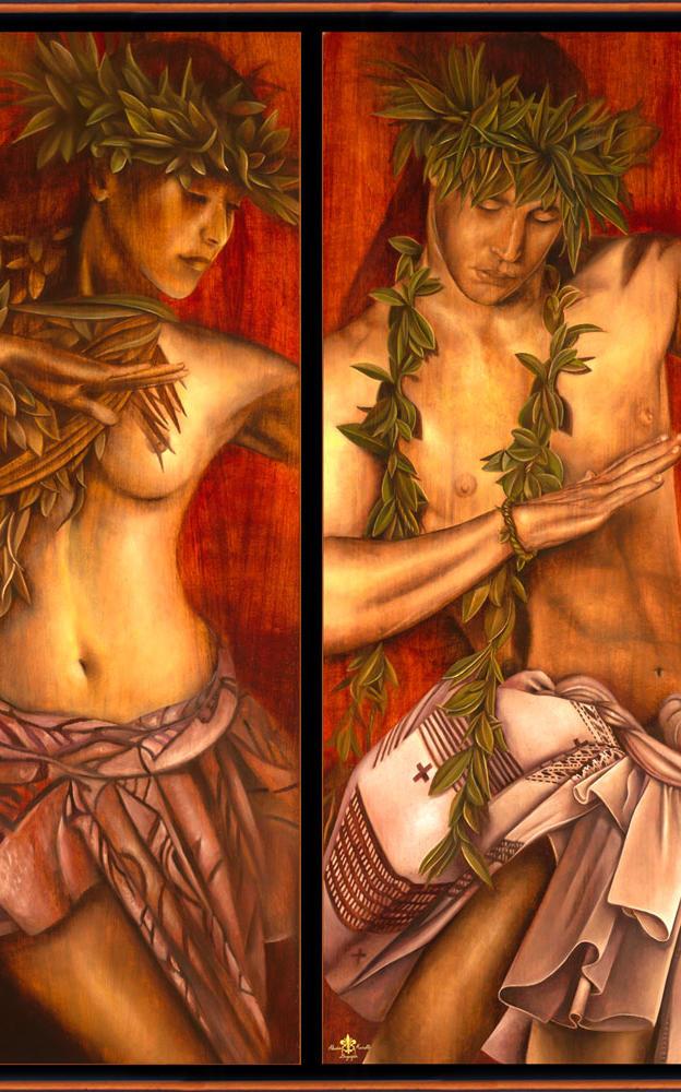 Leolua Hawaiian Duet 2- 18%22 x 40%2 - oil on koa
