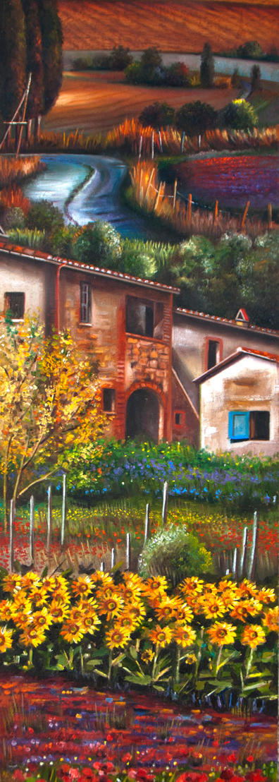 Tuscany in my Heart 39%22 x 9%22 - oil on koa